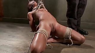 Ebony slaves master ties her up from the ceiling - 5:00