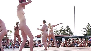 interesting amateur pole stripping contest at a iowa biker rally - 21:00
