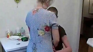 Grandma fucks her grandson in the kitchen - 8:00