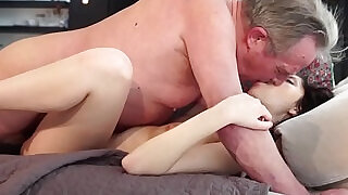 Old and Young Sweet girlfriend gets butt fucked by grandpa - 10:00