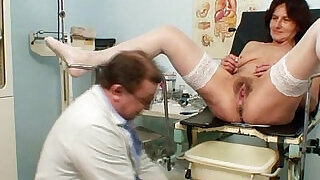 Hairy pussy grandma visits pervy woman doctor - 5:00