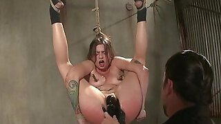 Hogtied suspended sub bdsm session with her master - 6:00