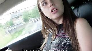 Hitchhiking brunette flashing her tits - 8:00