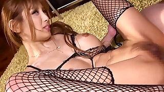 Fishnet lingerie Japanese milf get fucked - 8:00