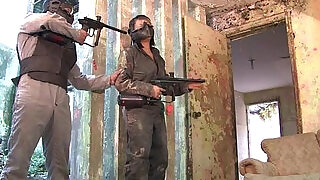 Voluptuous Sandra Flores fucked hard after a paintball gun shooting - 5:00