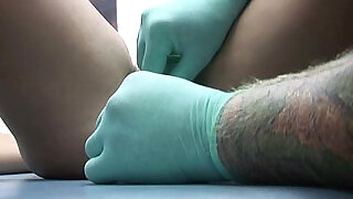 very painful pussy clit hood piercing on cute real alone girl - 10:00