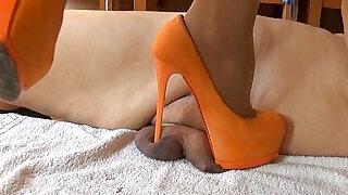 Miss Katarina extreme orange high heels cm savagery - 1:03