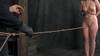 Crotch roped nipple clamped sub punished - 6:00