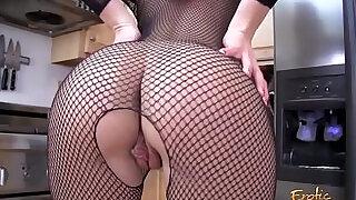Blonde MILF ripping off her full body fishnet stockings - 11:00