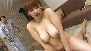 Myuu Hasegawa gives a group of guys a blowjob - 7:00