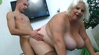 Huge boobs blonde gets doggystyled - 6:00
