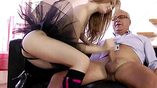 Teen free amateur in lingerie sucking on old man dick - 9:00