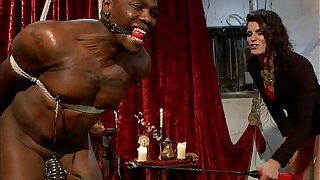 Black bound mucle guy fucked by mistress with huge strapon cock - 11:00
