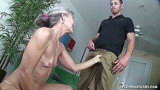 Granny dildo sucking and fucking herself - 4:38